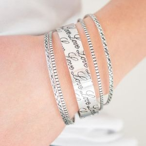 """Literally Loveable"" - Set of 5 Silver Bangles"